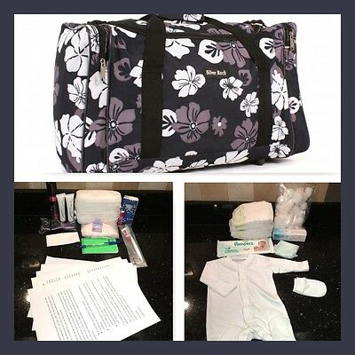 Budget prepacked maternity/hospital/labour bag black & grey flower
