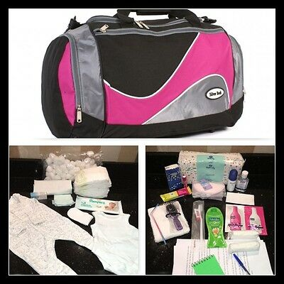 Luxury prepacked maternity/hospital/labour black & pink bag (Dove, VO5, Pampers)