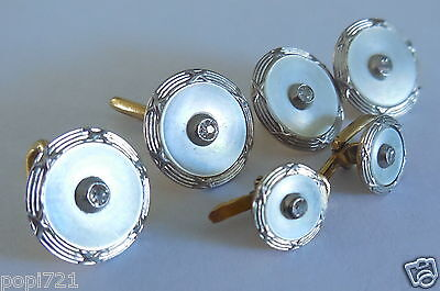 Boutons manchettes + col . Diamants, or , platine , nacre