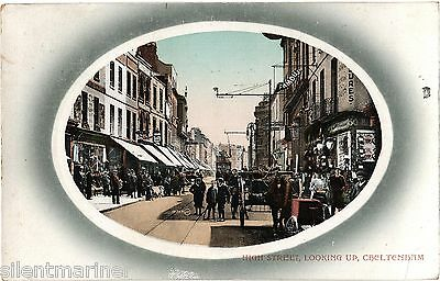 Cheltenham, High Street looking up, old coloured postcard, posted