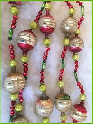 Antique Glass Feather Tree Xmas Garland Germany Large Stripe Beads Ribbed Tubes