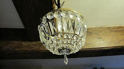 Vintage French Style Crystal / Cut Glass Basket Chandelier Ceiling Light