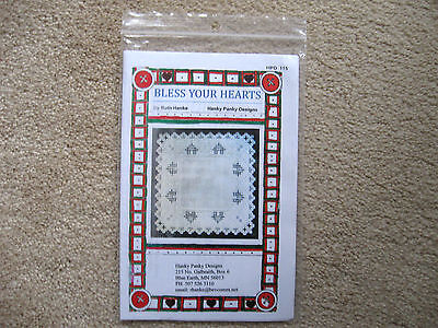 Bless Your Hearts Doily Hardanger Pattern Hanky Panky Designs Ruth Hanke