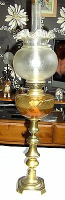 """Victorian Brass Oil Lamp with Amber Font Etched Glass Shade & Funnel Height 26"""""""