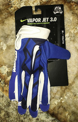 NEW Youth Med NIKE Vapor Jet 3.0 Advanced Skilled Players Blue Football Gloves
