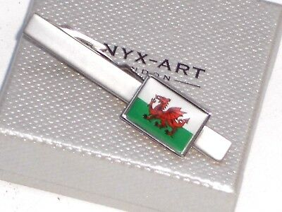 "WELSH MALE GIFT-""RED DRAGON FLAG"" 55mms METAL SATIN SILVER TIE BAR in GIFT BOX"