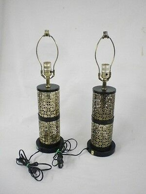Vintage Pair of Table Lamps Gold Colored Metal Painted Black Mid Century Modern