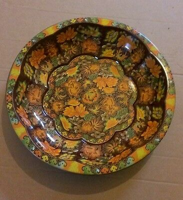 DAHER DECORATED WARE - ORANGE FLORAL TIN PLATE / BOWL (1971) (Free P+P)