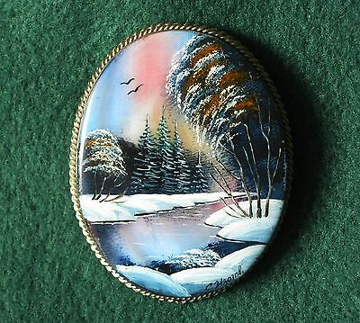 """Russian Lacquer brooch """"Winter river"""" Hand Painted"""