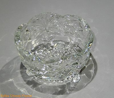 vintage french clear molded glass dish tray with legs c1950