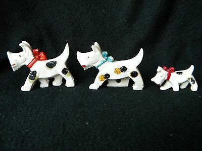 Vintage Scottie Scottish Terrier Dog Family of Three Spotted Dogs Made in Japan