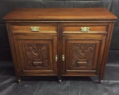 Victorian Antique Walnut Sideboard 2 Frieze Drawers Carved Cupboard Doors