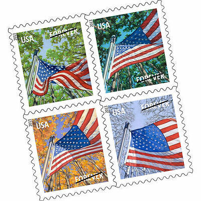 100 unopened USPS Forever Stamps Flag for All Seasons 5 Booklets x 20. Unique!