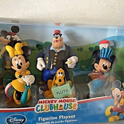 DISNEY STORE  Mickey Mouse Clubhouse Train Figure Play Set 6 Pc Cake Toppers