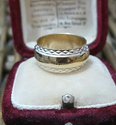 Vintage Solid Silver Wedding Ring/band, Gold Plated, Diamond Cut, Size J-K