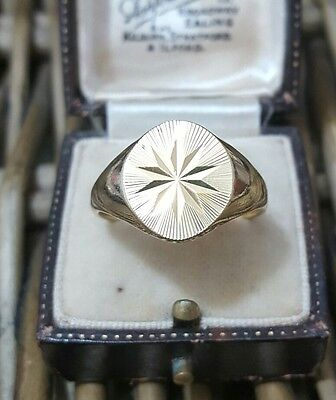 Vintage Solid Silver Men's Signet Ring, Gold Plated,3D Frame, Size X