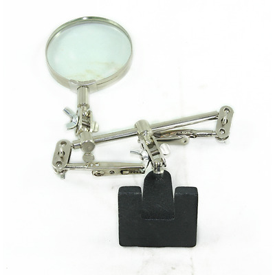 Helping Hand Magnifying Glass Soldering Iron Stand Magnifier & Crocodile Clips
