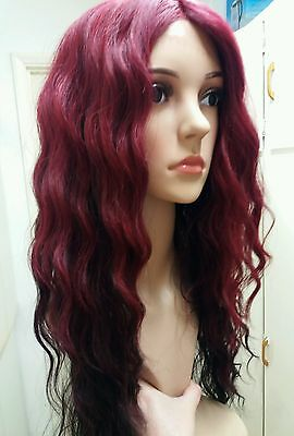 Red human hair wig, blend, dip dyed, black, lace Front, long, curly
