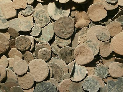 1 = Lot of 30 Spanish coins to clean and classify..._