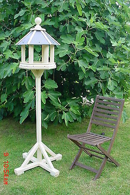 Bird Table Wooden Hexagonal, Slate Roof, Large Free Standing, Country Cream