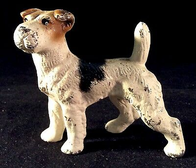Fox Terrier Cast Iron Painted Paperweight Hubley USA Dog Puppy Canine Metal #1