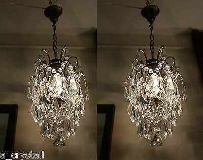 PAIR OF Antique Vintage Small Cage crystal Chandelier Light Lamp 1940's 10'in