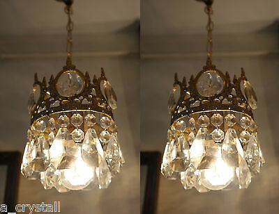 PAIR OF Antique Vnt.Small French Basket style Crystal Chandelier lamp 1940's 7İn