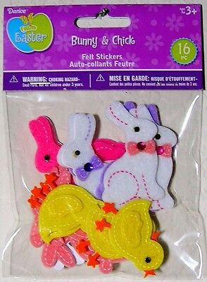 """Darice Felties Dimensional Easter """"Bunny & Chick"""" Felt Stickers ~ Spring Crafts"""