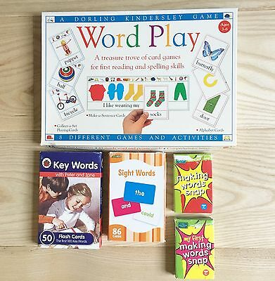 BUNDLE 5 Reading Learning Games: Making Words Snap! Sight Key Words Flash Cards