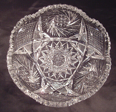 """ABP American Brilliant Heavy Cut 8"""" Glass Fruit Bowl with scalloped saw tooth"""