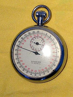 Vintage Stadion 7 Jewels Swiss Stop Watch Stopwatch with Rare Micro Second Face