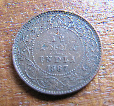 A nice Indian 1887 Victoria one twelth anna coin