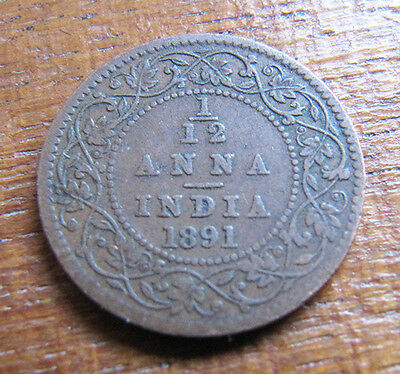 A nice Indian 1891 Victoria one twelth anna coin