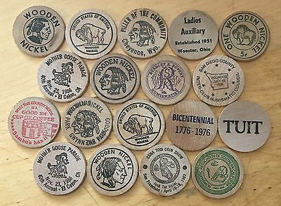 Lot Of 18 Wooden Nickels (Lot 33)