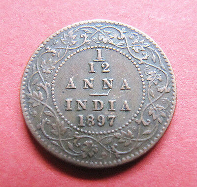A nice Indian 1897 Victoria one twelth anna coin