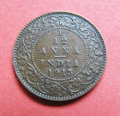 A nice Indian 1913 George V one twelth anna coin