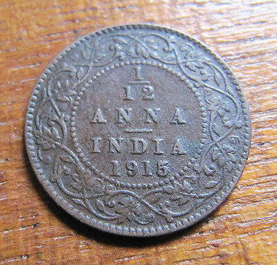 A nice Indian 1915 George V one twelth anna coin