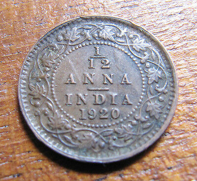 A nice Indian 1920 George V one twelth anna coin