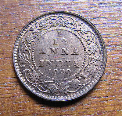 A nice Indian 1929 George V one twelth anna coin