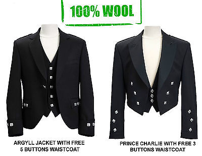 WOOL Scottish Argyle Kilt Jacket/ Prince Charlie kilt Jacket-WITH FREE WAISTCOAT