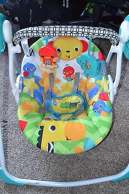 Bright Starts Safari Smiles Portable Baby Swing Folds Up Space Saver