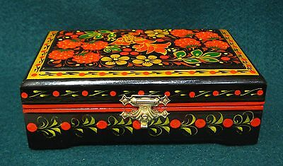 """Russian Lacquer box Khokhloma """"Flowers and birdie"""" Hand Painted"""