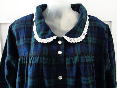 Womans New With Tags Lanz Of Salzburg 1X Xl Green/blue Flannel Nightgown Plaid