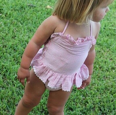 Girls 18 Months Pink Striped Seersucker One Piece Swimsuit, Babeeni, fully lined