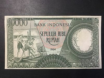 1964 Indonesia Paper Money - 10,000 Rupiah Banknote !