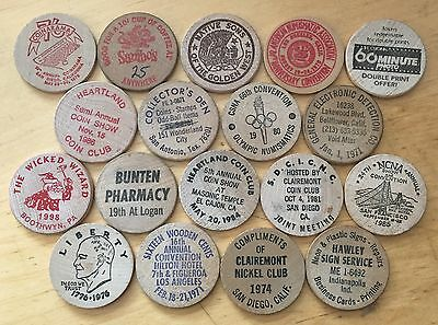 Lot Of 18 Wooden Nickels (Lot 87)