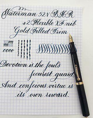 Vintage Waterman 52V Bhr Ring Top Fountain Pen Flexible Nib Video Available
