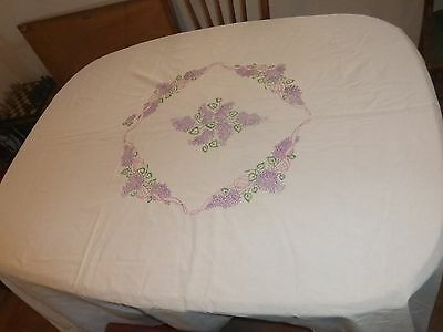 Nice! Handmade Embroidered LILAC FLOWERS BEDSPREAD Unfinished 100% Cotton Ribbon