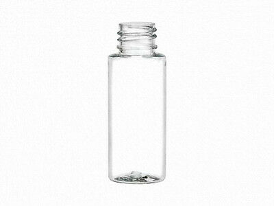 1 oz (30 ml) CLEAR Plastic Cylinder Round Bottles w/Caps (Lot of 100)