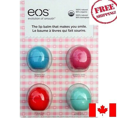EOS Organic Smooth Sphere Lip Balm 4 Pack 4 Flavors - Free Shipping from Canada!